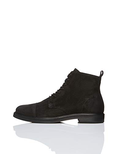 Find. Leather Lace Up Botas camperas Hombre, Negro Black Black, 42 EU