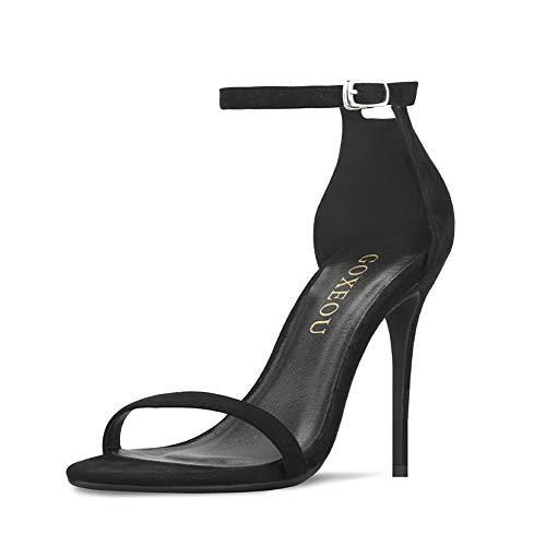 GOXEOU, Sandali da Donna con Cinturino alla Caviglia, Punta Aperta, 10 cm, Nero (Nero), 38 EU