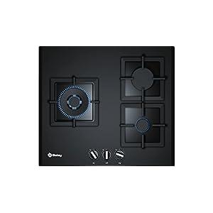 Balay, 3ETG663HB – Placa de gas butano, 3 Zonas, 60 cm, Cristal templado negro, Autoencendido integrado en los mandos…