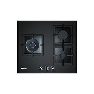 Balay 3ETG663HB – Placa de gas de cristal templado, parrillas hierro forjado, 3 quemadores, 60 cm de ancho, color negro