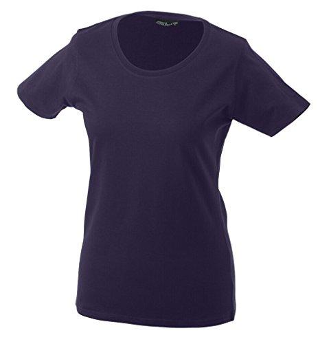JAMES & NICHOLSON Leicht tailliertes T-Shirt aus Single-Jersey Aubergine
