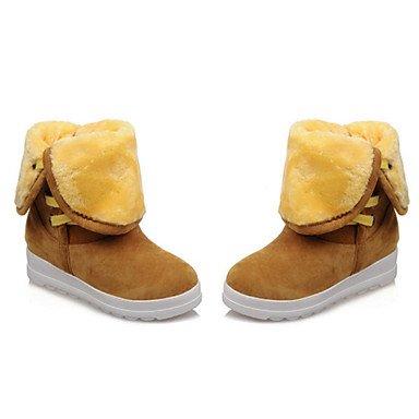 RTRY Scarpe Donna Pu Autunno Inverno Comfort Novità Snow Boots Fashion Stivali Stivali Tacco Piatto Rotondo Mid-Calf Toe Boots Lace-Up Per Ufficio Casual US6.5-7 / EU37 / UK4.5-5 / CN37