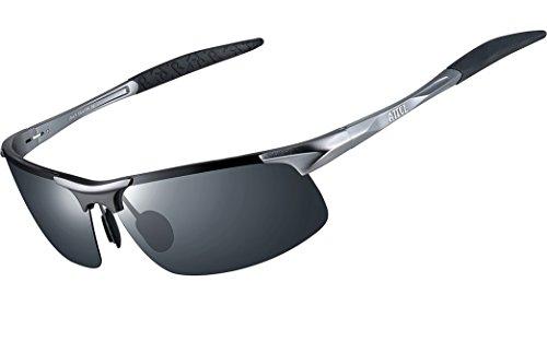 ATTCL® 2016 polarisierende Metal Sonnenbrille herren Sportbrille 8177 Gray