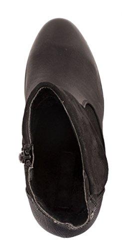Elara Damen Ankle Boots | Prints Stiefelette | Blockabsatz Profilsohle Schwarz