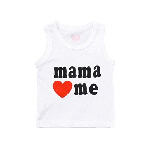 Evansamp Tank Top für Baby Jungen Mädchen Kids ärmellos T-Shirt Mama Love Me Brief Gedruckt Tee Tops Sommer Baby Kleidung, Weiß, 18 Monate