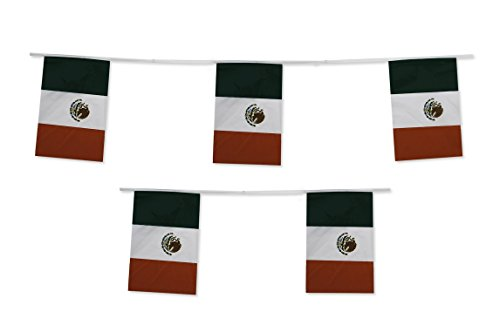 10M Mexiko Mexikaner Fahne Flagge Girlande Wimpelgirlande Wimpelkette Gartenparty Dekoration
