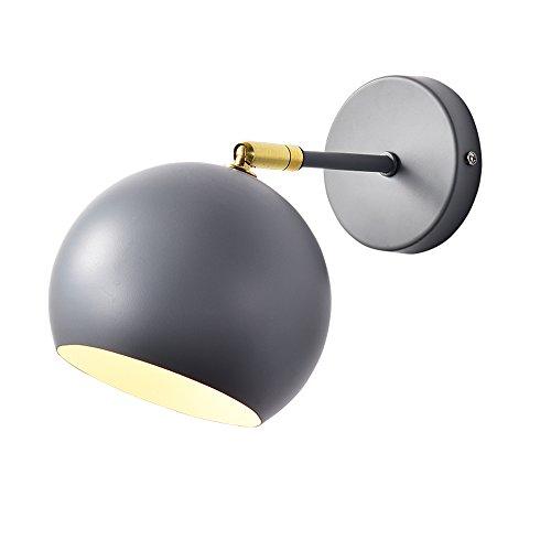 Nordic Wandleuchte Wohnzimmer Persönlichkeit Kreative Gang Wandleuchte Einfache Schlafzimmer Leselampe Multicolor Runde Nachttischlampe, Grau, Schwarz, Weiß (Color : Gray)