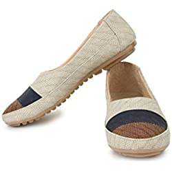Shezone synthetic leather Beige women flats Bellies