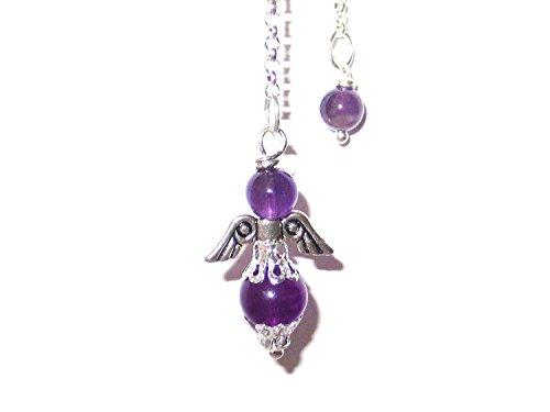 Engel-Pendel versilbert mit Amethyst Perlen Handarbeit + Täschchen - Hypnotische Violett