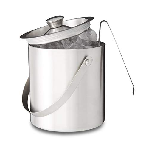 Relaxdays Eisbehälter rund mit Deckel, Eiszange, Eiswürfel-Kühler für Bar, Party, 2 Liter, HxBxT: 17 x 15 x 15cm, silber