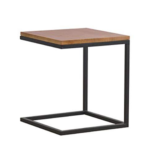 Tables FEI - Bureau d'ordinateur d'appoint de canapé avec Structure Moderne en Forme de C et Structure en Acier Noir et Bois Naturel pour Tous Les postes de Travail (Couleur : A)