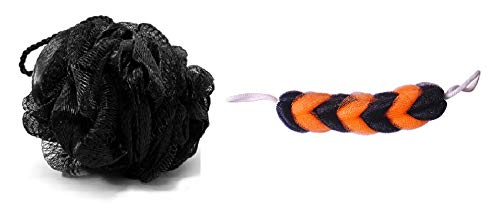 KRIWIN® Combo of 1 Black Bath Loofah and 1 Orange & Black Sponge Scrub for Back(blackloofahorangeblackscrub)