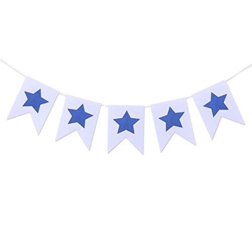 Amosfun Vierte Juli-Wimpelkette, Stern, Filzbanner zum Aufhängen, für Nationalfeier, 2 m, Blau und Weiß