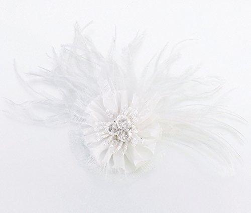 Lillian Rose Marabou Feather Hair Clip, 6-Inch, White