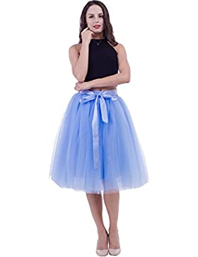 [Patrocinado]SCFL falda de tutú de las mujeres Midi Tulle faldas 7 capas de falda de falda de Underskirt con el cinturón elástico...