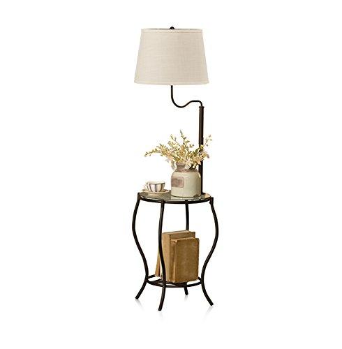 Sofa Stehlampe, Eisen Lichtmast Mit Couchtisch Glas Tischplatte Magazin Tischlampe Tuch Lampenschirm Wohnzimmer Stehlampe (Color : Black) - Stoff-magazin
