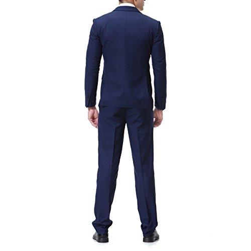 Herren 3-Teilig Slim Fit Anzug Zwei Knöpfe Business Sakko von Allthemen Marine Blau