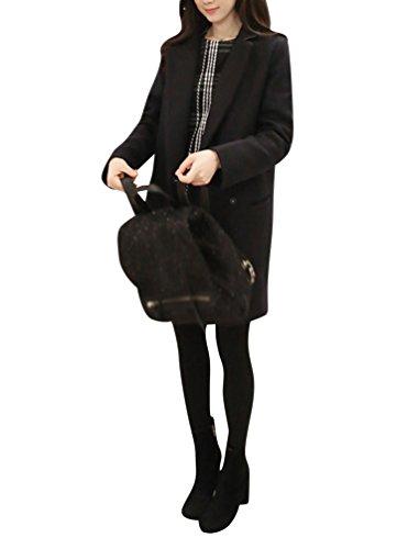 Damen Sophisticated Faux Wollmantel Wolljacke Dufflecoat Parka Schöner Winter Trenchcoat Langarm Outwear S Schwarz