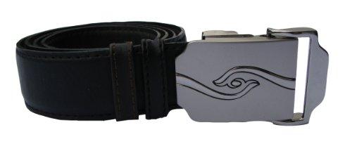 Herrengürtel aus Leder mit Automatikschließe - Gürtel in schwarz und dunkel braun, Wendegürtel, stufenlos einstellbar, kürzbar, Überlänge bis 150cm
