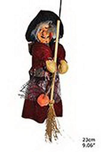 Whity Whiteman - Halloween Dekoration, Hänge-Deko alte Hexe auf Besen, 23cm, Old Witch with Broom, ideal für Jede Halloween Party / Feier, Rot