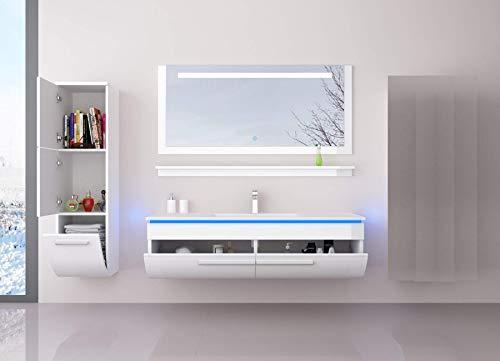 Danny Komplett Vormontierte Badmöbelset 120 cm Weiß Badezimmermöbel Waschbeckenschrank mit Waschtisch Spiegel 1x Hochschrank mit LED Beleuchtung Hochglanz lackiert Homeline1