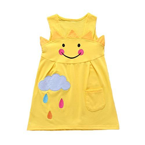 Baby Kleidung,Janly Mädchen ärmellose Cartoon Sun Cloud Print Kleid Kleidung (130)