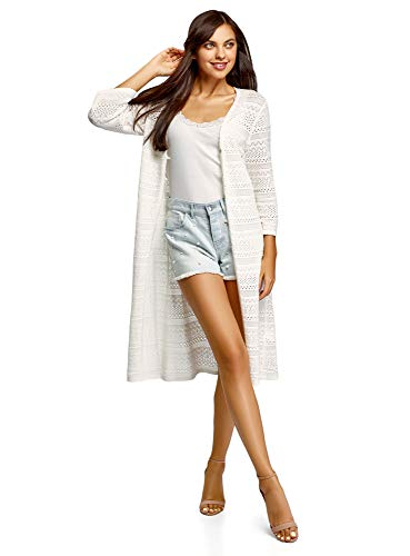 oodji Ultra Donna Cardigan Traforato con Bottoni, Bianco, IT 42 / EU 38 / S