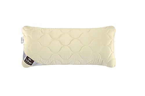 Sei Design® oreiller WOOL PREMIUM 40 x 80, rempli avec la laine vierge bouffante. Housse en satin mako avec un aspect satiné, 100 % coton, très doux, matériel antiallergique – matelassée et équipé d'un oreiller intérieur amovible.