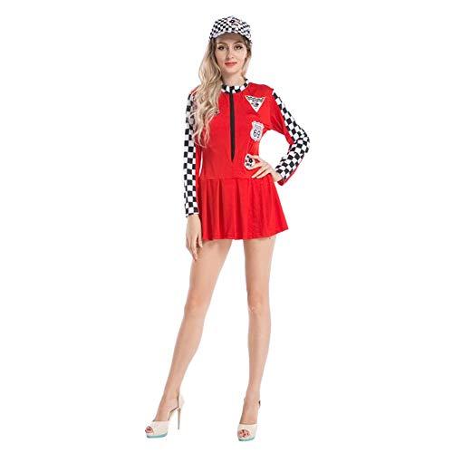 Mädchen Rennfahrer Kostüm - Goyajun Damen Lange Ärmel Reißverschluss Rennfahrer Kariert Bodycon Kleid Cheer Girls Fasching Karneval Halloween Kostüm