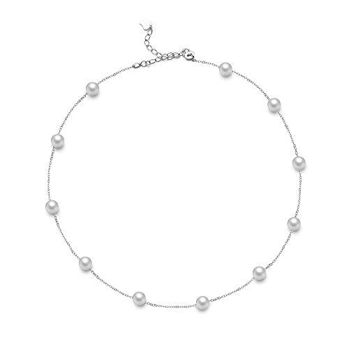 Hi Young Chian Halskette Sterling-Silber 925 rhodiniert Süßwasserperlen 7-7,5 mm Länge 40 cm + 5 cm Verlängerung - Tin Cup-halskette
