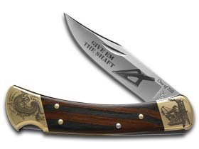 Buck 110 Give'em The Shaft Ebony Wood Folding Hunter 1/250 Stainless Custom Knife Knives