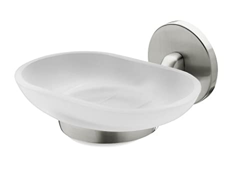 Bisk Virginia Frosted Glass Soap Dish Holder, Brushed