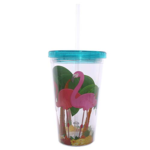 Puckator cup07vetro con cannuccia/coperchio motivo fenicottero rosa plastica blu/rosa/verde/giallo/trasparente 10x 10x 16cm
