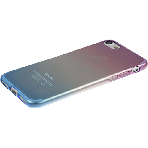 PhoneNatic Case für Apple iPhone 7 Hülle Silikon Design:06 Ombrè Cover iPhone 7 Tasche + 2 Schutzfolien Design:04