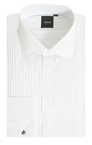 Dobell Smokinghemd, Weiß, gefältelte Hemdbrust, Dobell-37