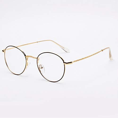 YMTP Handgemachte Glasrahmen Männer Frauen Retro Runde Metall Brillen Rahmen Optik Gläser, Golden