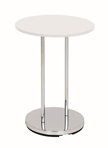Haku Möbel Beistelltisch - Stahl verchromt - Ablage MDF Hochglanz-weiß H 55 cm