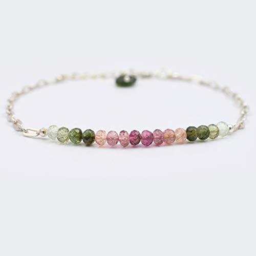 Wassermelone Turmalin Rondelle Perlen Bar Armband mit 925 Silber Ketten Oktober Birthstone Schmuck