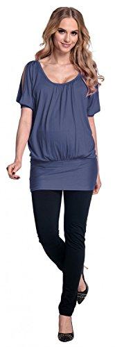 Happy Mama Femme maternité t-shirt grossesse chauve-souris tunique oversize 221p Bleu Gris