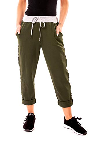 amen Lounge Home Jersey Sweat Hose Sweathose Jogginghose Lang One Size Uni Khaki mit Galonstreifen ()