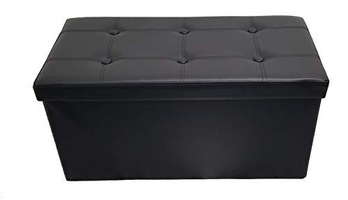 2-sitzer-leder Sitzbank (Fancy Linen LLC Klappbare Sitzbank mit Stauraum, Leinenleder, Schwarz 2 Seats)