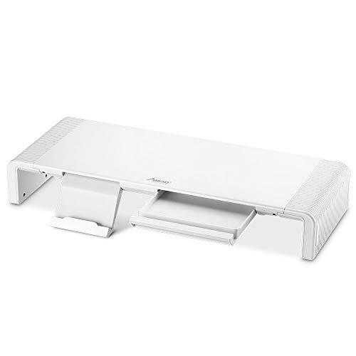 Mad giga supporto per monitor, supporto per monitor regolabile pieghevole con supporto per cellulare e organizer da scrivania, sottile supporto multimediale universale, stand ergonomico