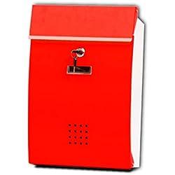 HTDZDX Boîte Lettres fixée au Mur de boîte Lettres de courrier avec Le Support de Journal à l'extérieur imperméable verrouillable (Couleur : Rouge)