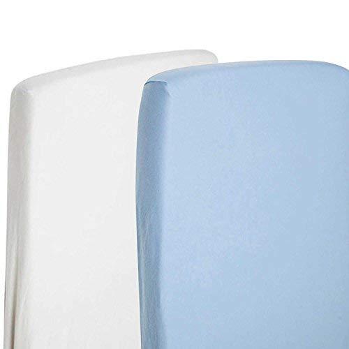 4x sábana bajera ajustable Compatible con Chicco Next 2Me 100% algodón-blanco/azul