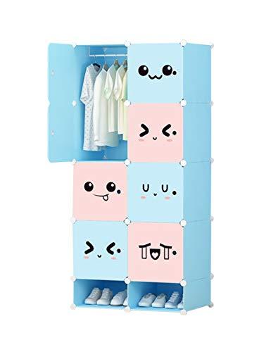 besbomig Kleiderschrank Portable Schrank Garderobenschrank - DIY Modular Regalsystem Kinderregal Garderobe Kinder Kleiderschrank für Bücher Spielzeug Kleidung