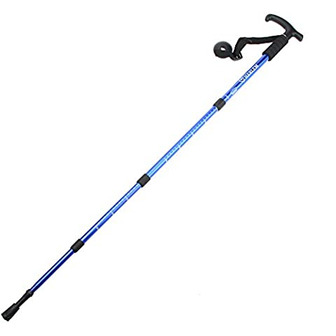 Lixada 6061 Aluminiumlegierung verstellbare Teleskop Wandern Gehstock Trekking Pole T Form Griff Alpenstock 4teilig Anti-Schock Anti-Rutsch (Ergonomischer Griff Handgriff)