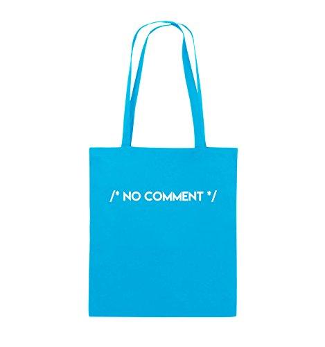 Comedy Bags - NO COMMENT - Jutebeutel - lange Henkel - 38x42cm - Farbe: Schwarz / Pink Hellblau / Weiss