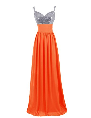 Dresstells Ballkleid Lang Chiffon Silber Pailletten DT90679 Orange