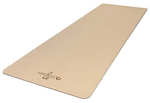 HIP & ECO Yoga-Matte aus umweltfreundlichem Kork und Naturkautschuk   Nachhaltig hergestellt   mit Tragegurt   Ideal für Yoga, Pilates, Fitness, Freeletics