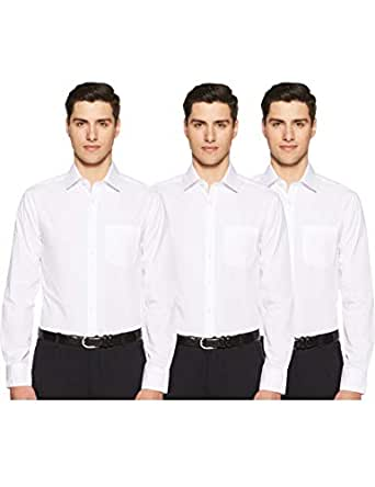 Marks & Spencer Men's Solid Slim Fit Formal Shirt (Pack of 3)(T112310SWHITE15(20153410))